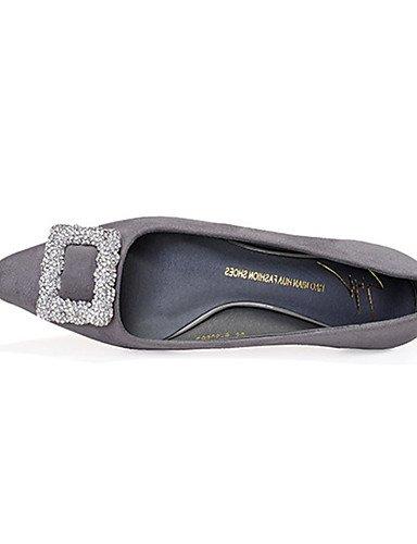 WSS 2016 Chaussures Femme-Décontracté-Noir / Gris / Multi-couleur-Talon Bas-Bout Carré-Mocassins-Laine synthétique gray-us7.5 / eu38 / uk5.5 / cn38