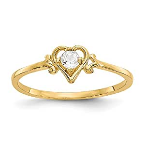 14ct Original Ring Herz Geburtsstein April - JewelryWeb