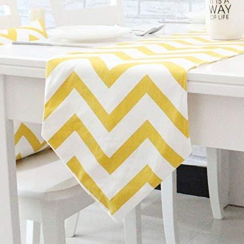 Pingrog Chevron Zig Zag Mischgewebe Baumwolle Leinen Canvas Weiß Gedruckt Unikat Tischläufer (Gelb Schwarz Orange Navy Blau Aqua Grau) Aqua 30X210Cm (Color : Gelb, Size : 30X210Cm)