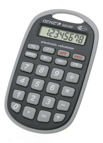 Genie 982 AM 8-stelliger Taschenrechner (Befestigungsöse, Batterie-Power, robustes Design) grau