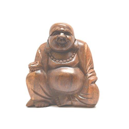 Intagliato a mano in legno 10cm piccolo Lucky Laughing Buddha