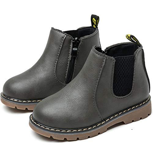 Nasonberg Jungen Mädchen Winter Leder Schneestiefel Warme weiche Winterschuhe Boots für Kinder Baby, Grau, 25 EU=Innenlänge 14,5CM