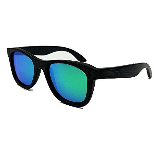 Yiph-Sunglass Sonnenbrillen Mode Vintage Full Frame Ecologic Black Bamboo Sonnenbrille Farbige Linse UV400 Schutz für Männer, Frauen (Farbe : Grün)