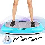 Ancheer 3D Fitness Pedana Vibrante Professionale Massaggiante Oscillante Dimagrante, Macchine a Piattaforma Vibrante con Un Motore Potente, Un Telecomando e 2 Fasce Elastiche per Allenamento