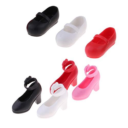 SM SunniMix 7 Paare Puppen Schuhe Ballerinaschuh High Heels Freizeitschuhe Für 1/6 BJD Monster High Puppe Kleidung Zubehör