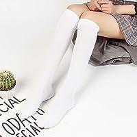 PEMKSAC Calcetines hasta La Rodilla Calcetines De Color Liso 2018 Calcetines De Rodilla para Mujer Calcetines De Algodón, E