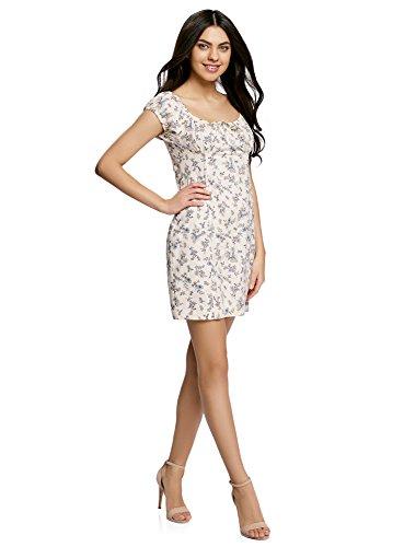 oodji Ultra Damen Baumwoll-Kleid mit Raffungen auf der Brust Elfenbein (3070F)