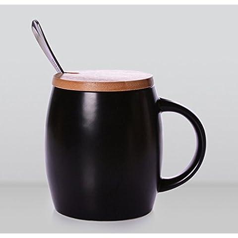 Ceramica tazza del vino Coppe tazza di caffè tazza di personalità di modo creativo di vetro di copertura con il cucchiaio ( colore : Nero )