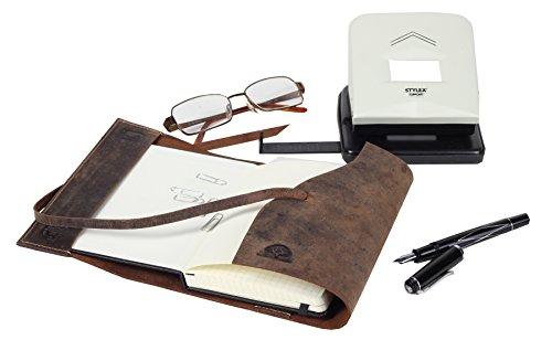 Greenburry Vintage Taschen-Organizer Notizbuch mit Hirsch Motiv Tagebuch DINA6 Handgefertigt ECHT LEDER