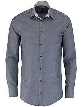 VENTI Slim Fit Hemd Langarm mit schwarzen Besätzen Struktur anthrazit