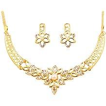 Touchstone Parure de bijoux indiens Bollywood avec cristaux  autrichiens fausses perles dans les tons dorés d24d37ba32a9