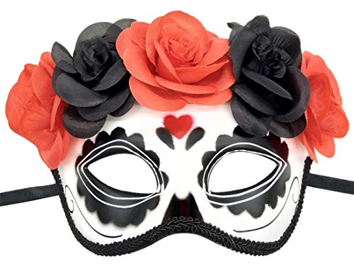 Flywife Damen Mexikaner Day of The Dead Tag der Toten Maske Zucker Spinne Blume Halloween Mardi Gras Glitter Schick Party Maske (Rot Liebesherz)