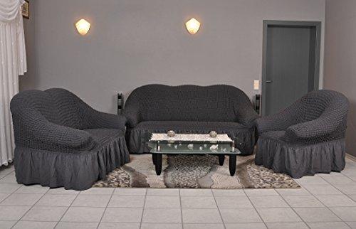 My Palace Stretch Sofabezüge 1er + 2er + 3er in anthrazit/dunkelgrau (Stretchhusse, Sofa-Husse, Sofabezug)/Sofabezug Ikea/sofabezuege 3 2 1/sofabezug groß/Garnituren cover
