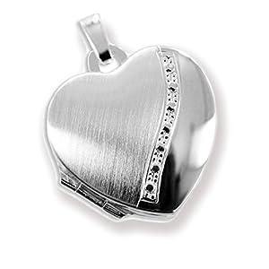HausderHerzen.de Herz Medaillon 925 Silber zum öffnen für Bildereinlage/ 2 Fotos