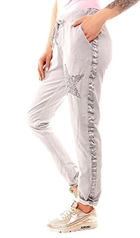 Damen Vintage Jersey Hose Sweathose Jogginghose Sternhose lang mit Pailletten-Stern One Size hellgrau