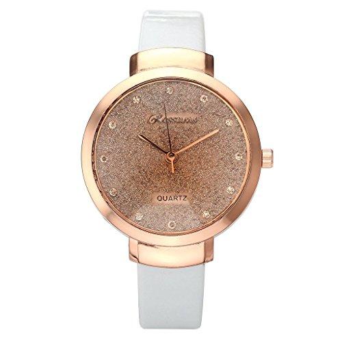 JSDDE Uhren,Elegante Damen Armbanduhr Braunglas Glitzer Dial XS Slim PU Leder-Band Ladies Dress Analog Quarzuhr,Weiss - 2