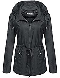 Yying Mujeres Chaqueta Impermeable Otoño Invierno Básico Chaqueta Impermeable Abrigos Abrigos Mujer Cazadora