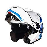 GSDZN - Motorradhelm Integralhelm Halber Helm Externe Transparente Linse Und Integrierte Sonnenbrille Anti-Fog Breathable Klare Sicht,E-XL