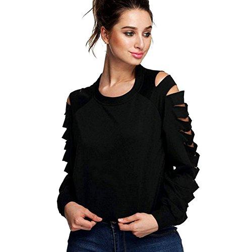 LAEMILIA Tops Femmes Chemises Casual Shirt Club Sexy Creux Manches Longue Sweat-Shirt Blouse Noir Noir