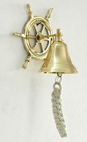 BRASS SHIP BELL WITH WHEEL BRACKET - DECOR DOOR BELL-HOME DECOR