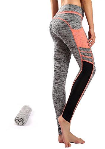 Munvot Tailored Geschenke Tummy Control Yoga Pants Sport Leggings Hohe Taille Fitnesshose Blickdichte Leggings Sporthose Strech Sweathose Hellorange/Grua M