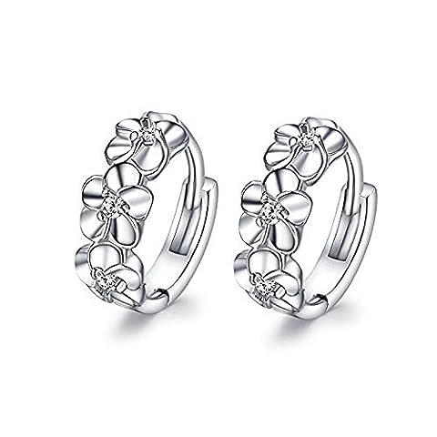 lanmpu plaqué platine–Boucles d'Oreilles Pendantes Femme–Fleur pour Femmes