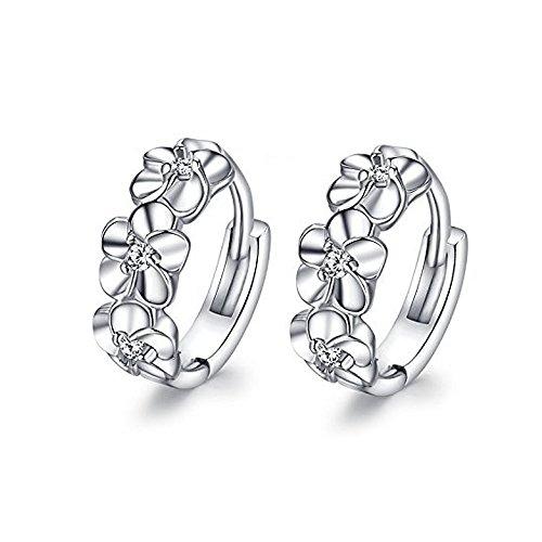 lanmpu platino placcato-Orecchini pendenti Fiore per donna