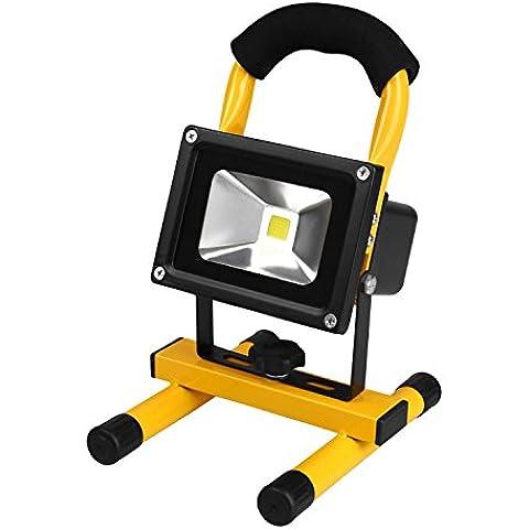 Foco LED Recargable, Portátil Foco Proyector LED Exterior Impermeable 10W, Foco de Trabajo LED para Luz de Camping, Equivalente a Halógeno 100 W, Luz Emergencia Iluminación de Exterior, Jardín, Patio, Terraza, Garaje, Actividades al Aire Libre