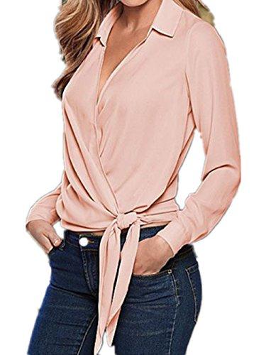Aivosen Donna Elegante Camicetta Maglia Maglietta Manica Lunga Moda Casual V-Collo T-Shirt Pink