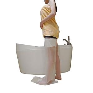 Erwachsene Bein Gussdeckel für Dusche–muttiy Best Dichtung Wasserdicht Schutz, transparent Wasserdicht Bandage für Fuß, Knie, Knöchel Wunde in Baden oder Schwimmen und 100% wiederverwendbar (schwarz)