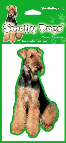 Airedale Terrier Hund Air Freshener Autoluft deoderiser (4 St. pro Packung). Duftbaum Lufterfrischer wagen Parfüm Air Freshner Fußball. Jeder Freshener einzeln verpackt - Ideal für Auto, Haus, Wohnwagen (Terrier Hund-schüssel)
