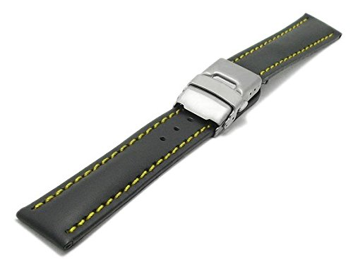 meyhofer-uhrenarmband-milas-22mm-schwarz-leder-glatt-gelbe-naht-titan-faltschliesse-myhekslb88-22mm-