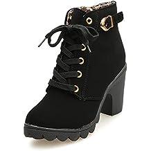 botas mujer invierno, BBestseller moda mujer Botas tacón alto Botas encaje hasta el tobillo Zapatos