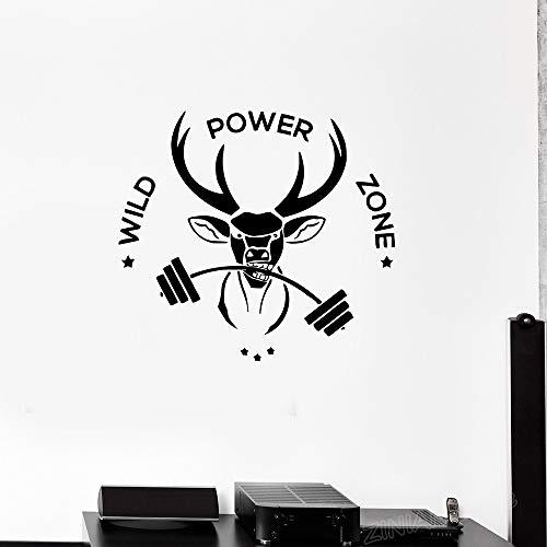 guijiumai Sport Fitness Phrase Vinyl Wandtattoo Tier Hirsch Wild Power Zone Gym Wanddekor Aufkleber Für Schlafzimmer Kunst Tapete schwarz 88x80 cm