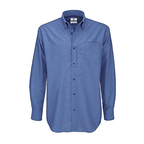 B&c mens oxford long sleeve shirt camicia business, blu (blue chip 000), 19.5 (taglia produttore: xxxx-large) uomo