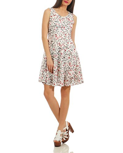 a7a2eb937e Sweet Miss Ladies Summer Dress Beach Dress Floral Print Sleeveless Tailored  White