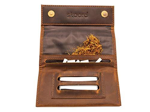 Blague à Tabac skaard Marron Sombre en Cuir véritable avec Double Compartiment pour Feuilles et Fermeture magnétique... (Brun)