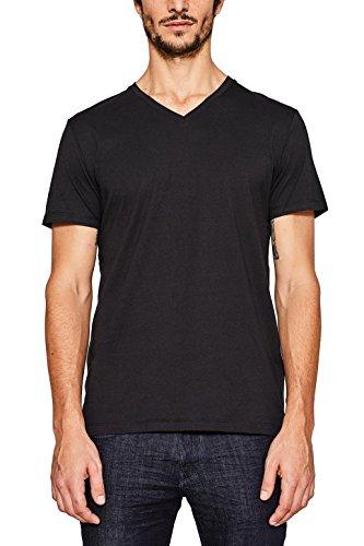 ESPRIT Herren 997EE2K821 T-Shirt, Schwarz (Black 001), Large - Weiches Baumwoll Jersey Tee
