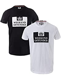 Weekend Offender Mens Siegel 2 Pack T-Shirts in White Black- One Black 504b47c35479