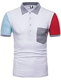 Polohemd Herren Basic Sommer Mode Kurzarm Brusttasche Poloshirt Mit  Bekleidung Slim Fit Mischfarben Casual Revers Pique 53a667ab25