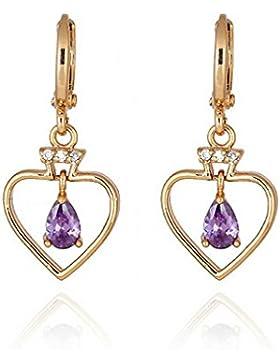 Ohrringe in Herzform, mit tropfenförmigen Steinen, Gelbgold, Kristall, Lila