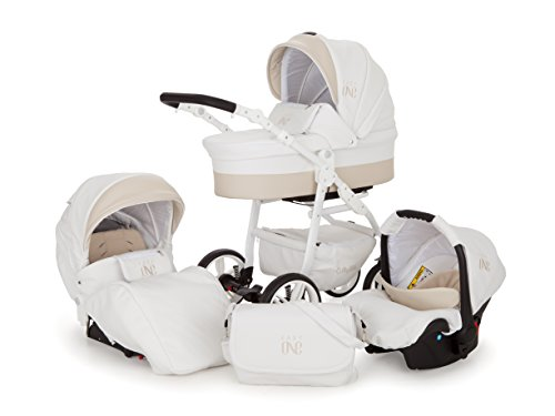 Lux4Kids Kinderwagen Set Babywanne Sportsitz Babyschale Wickeltasche Matratze 3in1 VIP Luxus Made in EU Easy One Weiss