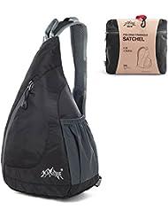 GSTEK Mochila de Hombro Packable Mochila Plegable Honda del Bolso para Hombres Mujeres Deportes al Aire Libre, Ciclismo, Senderismo, Camping, Escuela - Negro