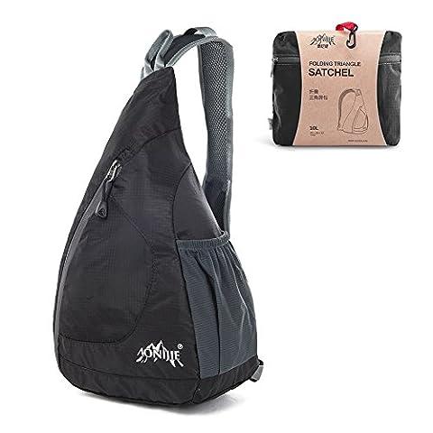 Packable Shoulder Backpack, GSTEK Lightweight Foldable Shoulder Backpack Sling Chest Crossbody Bag Pack for Men Women Outdoor Sports, Cycling, Hiking, Camping, School - Black