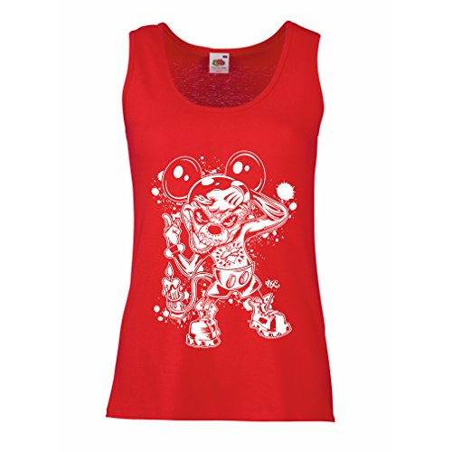 (lepni.me Damen Tank-Top Eine Maus mit Einem tollen Halloween-Party-Kostüm (Large Rot Mehrfarben))