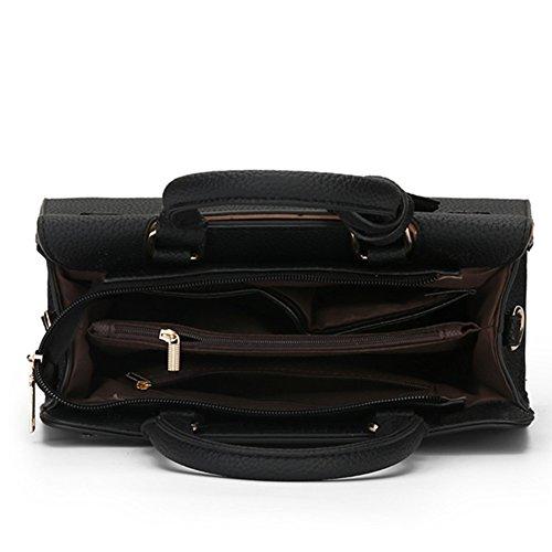 Umhängetaschen Leder Fashion Schulterbeutel fanhappygo Umschlag Damen Retro Abendtaschen schwarz taschen qT4AF