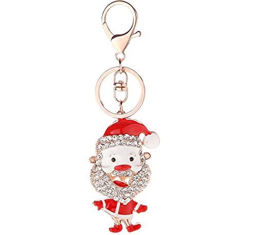 ruikey Karabinerverschlüsse Schlüssel Ring Strass Santa Claus Geldbörse Tasche KFZ Schlüssel Kette Anhänger Geschenk für Weihnachten Dekoration (Claus Geldbörse)