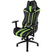 Aerocool AC120 - Silla gaming profesional (ergonómica, altura regulable, respaldo ajustable,  reposabrazos abatibles 2 direcciones, incluye reposacabezas y almohada lumbar, ruedas 50mm), color verde