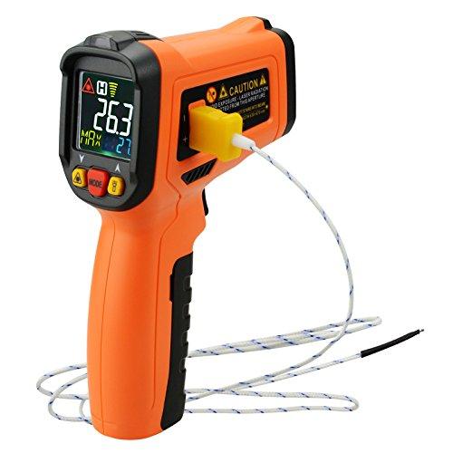 Berührungslose Infrarot-IR Laser Thermometer Typ K Thermoelement-50 ~ 800 ° C /-58 ~ 1472 ° F, Farbe Digitalanzeige UV Hand Held Temperatur Belichtungsmesser, Hi / Lo Alarm -