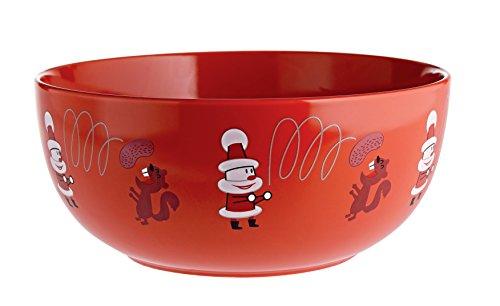 Alessi Amgi56 R Get Nuts! Bol à Fruits Secs en Porcelaine Décorée, Rouge